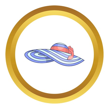 pent: Beach hat vector icon in golden circle, cartoon style isolated on white background Illustration