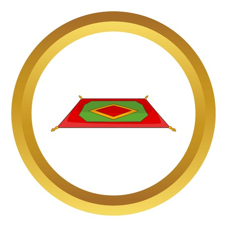 Traditional turkish carpet vector icon in golden circle, cartoon style isolated on white background