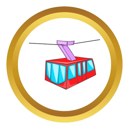 tram vector icon in golden circle, cartoon style isolated on white background
