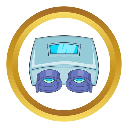 healthier: Eye checking machine vector icon in golden circle, cartoon style isolated on white background