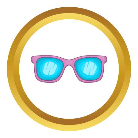 Glasses vector icon in golden circle, cartoon style isolated on white background