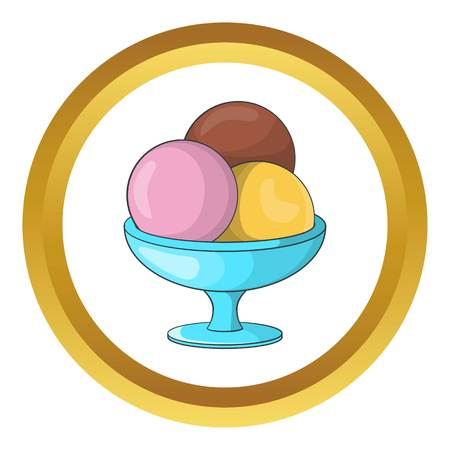 Ice cream balls vector icon in golden circle, cartoon style isolated on white background