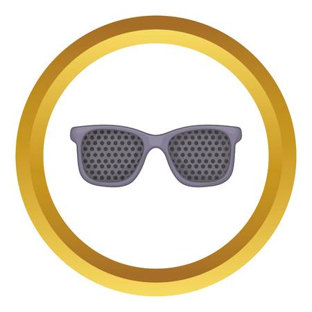 eyewear fashion: Perforating glasses vector icon in golden circle, cartoon style isolated on white background Illustration