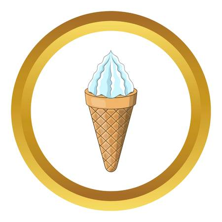 Ice cream cone vector icon in golden circle, cartoon style isolated on white background