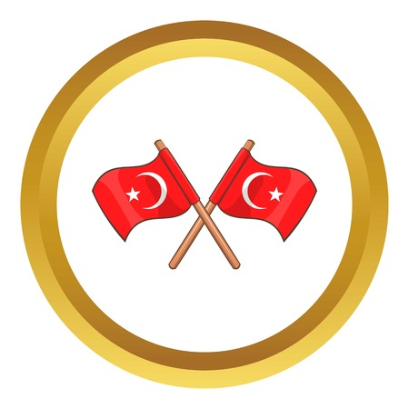 Turkey crossed flags vector icon in golden circle, cartoon style isolated on white background
