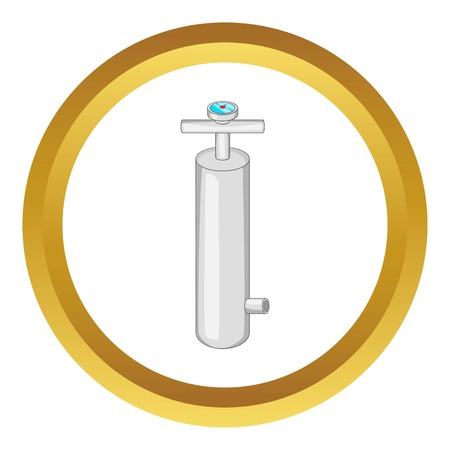 Pump with pressure gauge vector icon in golden circle, cartoon style isolated on white background
