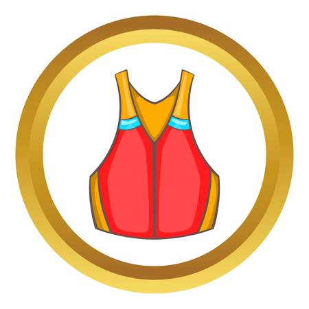 Life vest vector icon in golden circle, cartoon style isolated on white background Illustration
