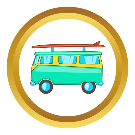 Bus with surfboard vector icon in golden circle, cartoon style isolated on white background