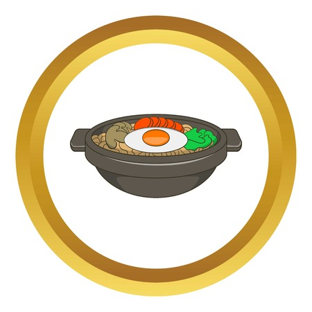 cooked rice: Bibimbap korean dish vector icon in golden circle, cartoon style isolated on white background
