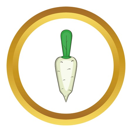 Daikon vegetable vector icon in golden circle, cartoon style isolated on white background