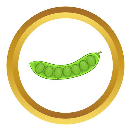 pea pod: Green pea pod vector icon in golden circle, cartoon style isolated on white background Illustration