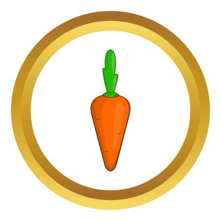 veg: Carrot vector icon in golden circle, cartoon style isolated on white background