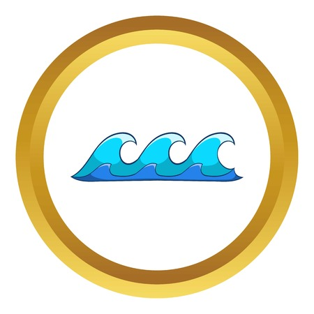 deep blue: Small waves vector icon in golden circle, cartoon style isolated on white background