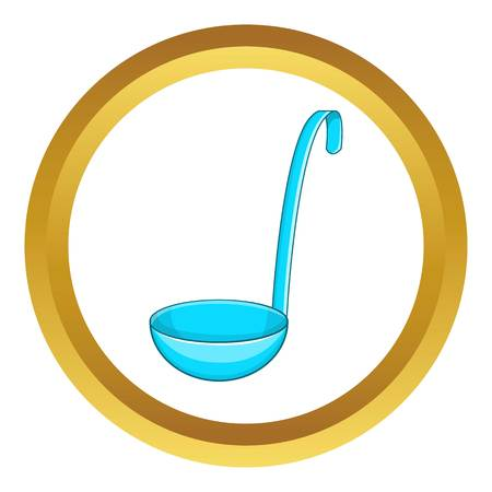 Ladle vector icon in golden circle, cartoon style isolated on white background Illustration