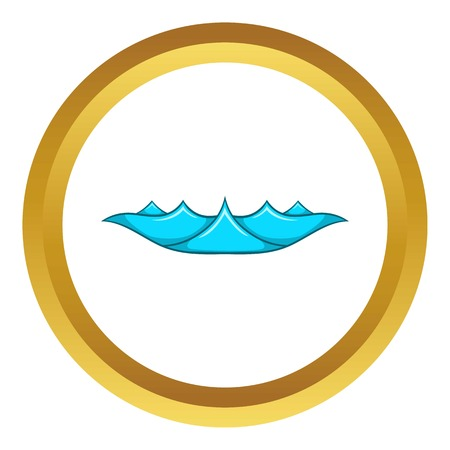 Small ocean waves vector icon in golden circle, cartoon style isolated on white background Illustration