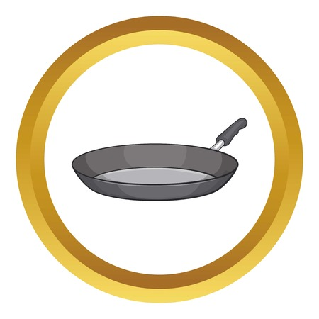 Frying pan vector icon in golden circle, cartoon style isolated on white background