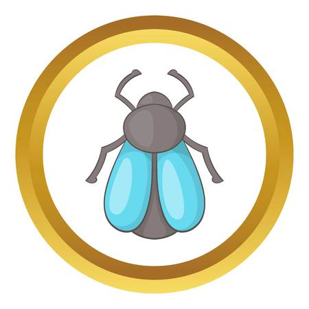 hairy legs: Fly vector icon in golden circle, cartoon style isolated on white background