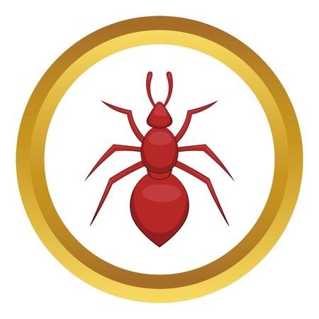 Ant vector icon in golden circle, cartoon style isolated on white background Illustration