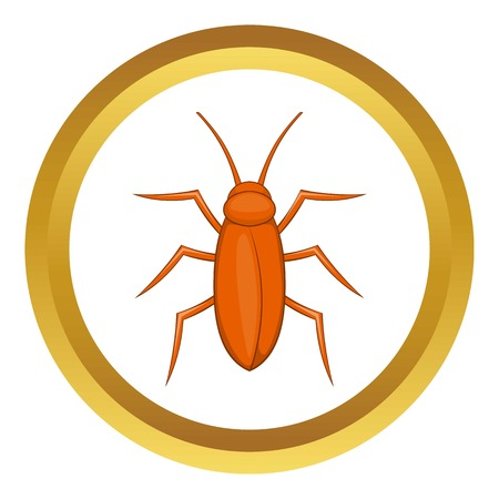 Cockroach vector icon in golden circle, cartoon style isolated on white background Illustration