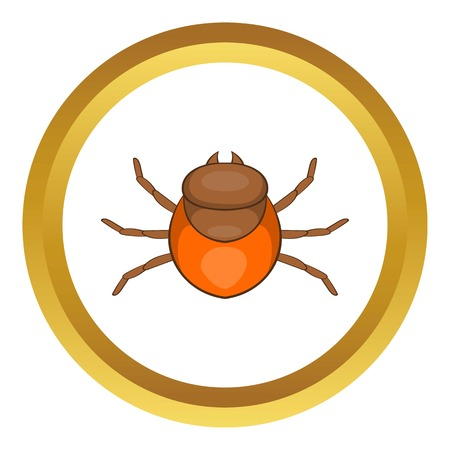 Tick vector icon in golden circle, cartoon style isolated on white background Illustration