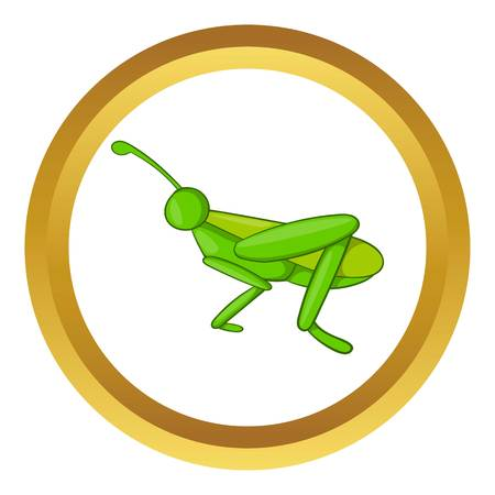 hopper: Grasshopper vector icon in golden circle, cartoon style isolated on white background