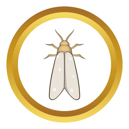 Moth vector icon in golden circle, cartoon style isolated on white background