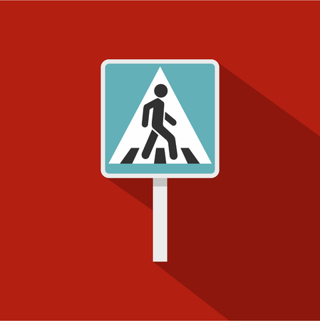 rufous: Pedestrian road sign icon. Flat illustration of pedestrian road sign vector icon for web isolated on rufous background