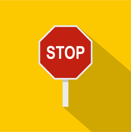 motorist: Red stop road sign icon. Flat illustration of stop road sign vector icon for web isolated on yellow background Illustration