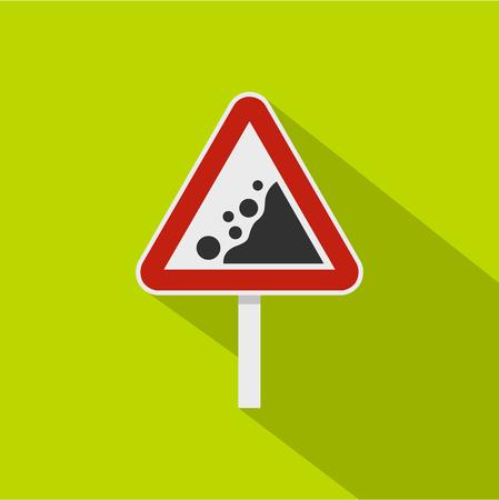 Rockfall traffic sign icon. Flat illustration of rockfall traffic sign vector icon for web isolated on lime background 向量圖像