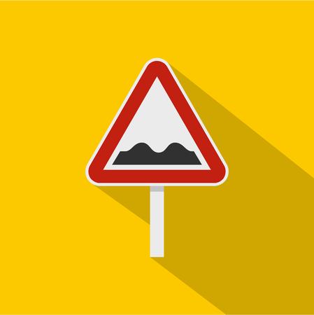bumpy: Bumpy road sign icon. Flat illustration of bumpy road sign vector icon for web isolated on yellow background