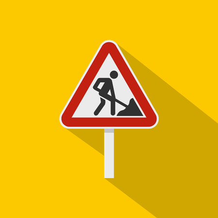 Roadworks sign icon. Flat illustration of roadworks sign vector icon for web isolated on yellow background Illustration