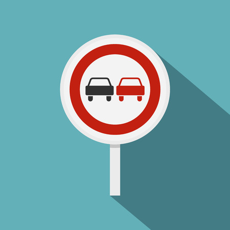 two lane highway: No overtaking road traffic sign icon. Flat illustration of no overtaking road traffic sign vector icon for web isolated on baby blue background