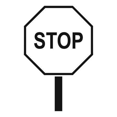 danger ahead: Stop road sign icon. Simple illustration of stop road sign vector icon for web