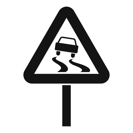 skid: Slippery when wet road sign icon. Simple illustration of slippery when wet road sign vector icon for web Illustration