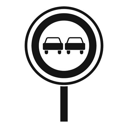 two lane highway: No overtaking sign icon. Simple illustration of no overtaking sign vector icon for web Illustration