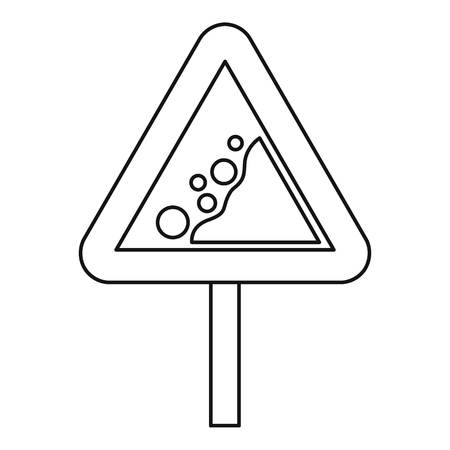 rockfall: Falling rocks warning road sign icon. Outline illustration of falling rocks warning sign vector icon for web