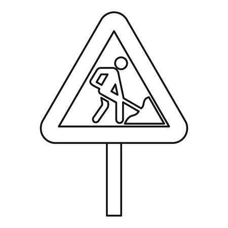 Road works warning traffic sign icon. Outline illustration of road works warning traffic sign vector icon for web Stock Illustratie