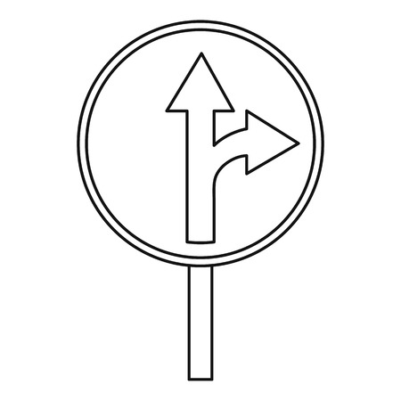 appropriate: Straight or right turn ahead traffic sign icon. Outline illustration of straight or right turn ahead vector icon for web