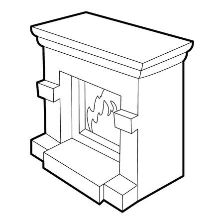 mantelpiece: Fireplace icon. Isometric 3d illustration of fireplace vector icon for web