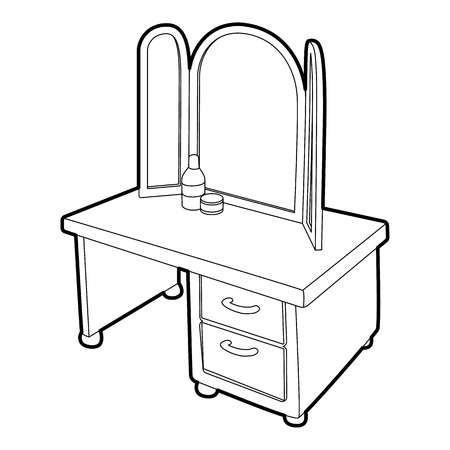 dressing: Dressing table with a mirror icon. Isometric 3d illustration of dressing table with a mirror vector icon for web