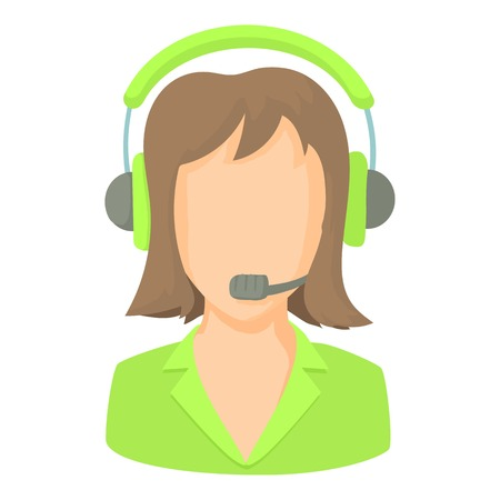 call centre girl: Call center operator with phone headset icon. Cartoon illustration of call center operator with phone headset vector icon for web