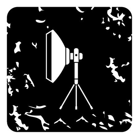 stripbox: Studio light softbox icon. Grunge illustration of studio light softbox vector icon for web design