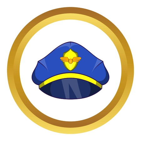Blue pilot cap with badge vector icon in golden circle, cartoon style isolated on white background