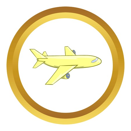 pilot  cockpit: Passenger airplane vector icon in golden circle, cartoon style isolated on white background