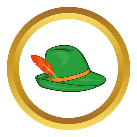 tirol: Green hat with a feather vector icon in golden circle, cartoon style isolated on white background