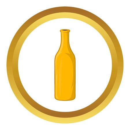 Bottle of beer vector icon in golden circle, cartoon style isolated on white background Illustration