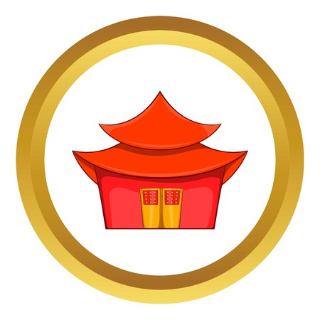 chinese pagoda: Chinese pagoda vector icon in golden circle, cartoon style isolated on white background
