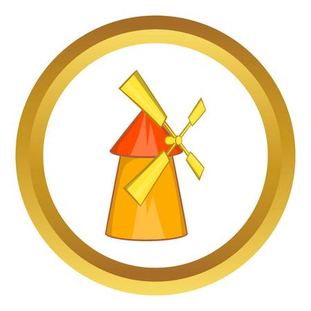 Windmill vector icon in golden circle, cartoon style isolated on white background