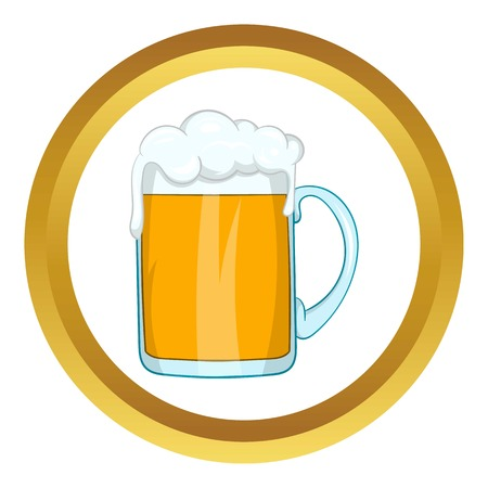 Mug of beer vector icon in golden circle, cartoon style isolated on white background