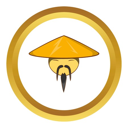 conical: Man in chinese conical hat vector icon in golden circle, cartoon style isolated on white background Illustration